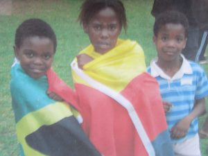 South Africa and Germany Children with flags