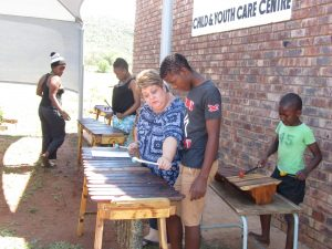 Social Worker Linda Grobler teaching Marimba